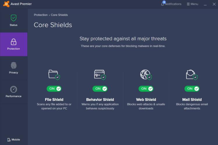 Avast Premium-Sicherheit, Avast Core Shields