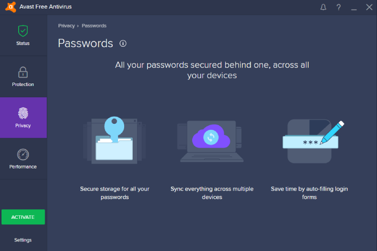 Avast-Passwörter Premium.