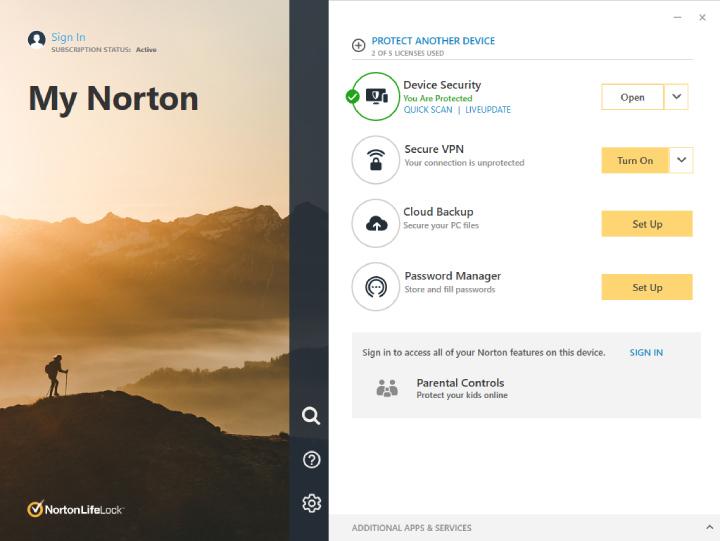 Interface Norton antrivirus.
