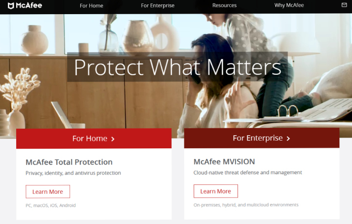 McAfee Haupt-Website.