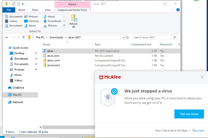 McAfee Antivirus trouve une menace.
