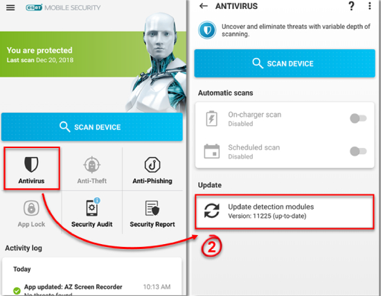 ESET Mobile Security et Antivirus.