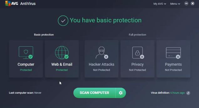 AVG AntiVirus Free, protection de base.
