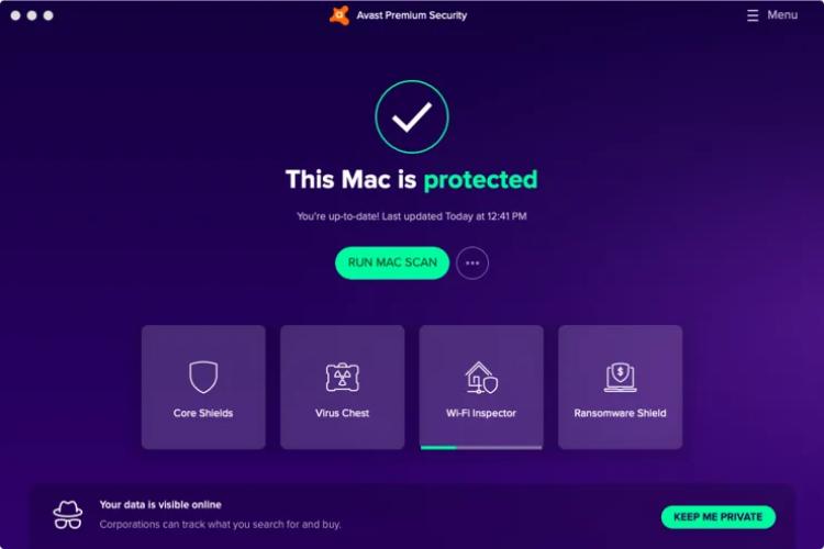 Avast pour Mac, interface.