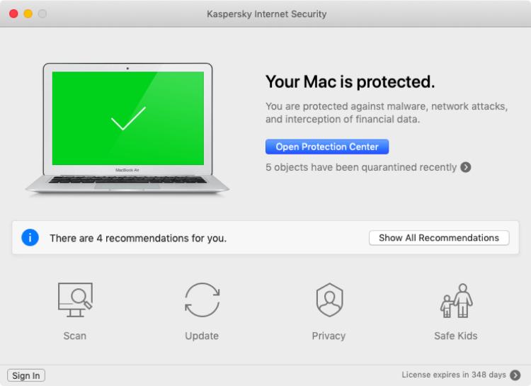 Kaspersky pour Mac, interface.