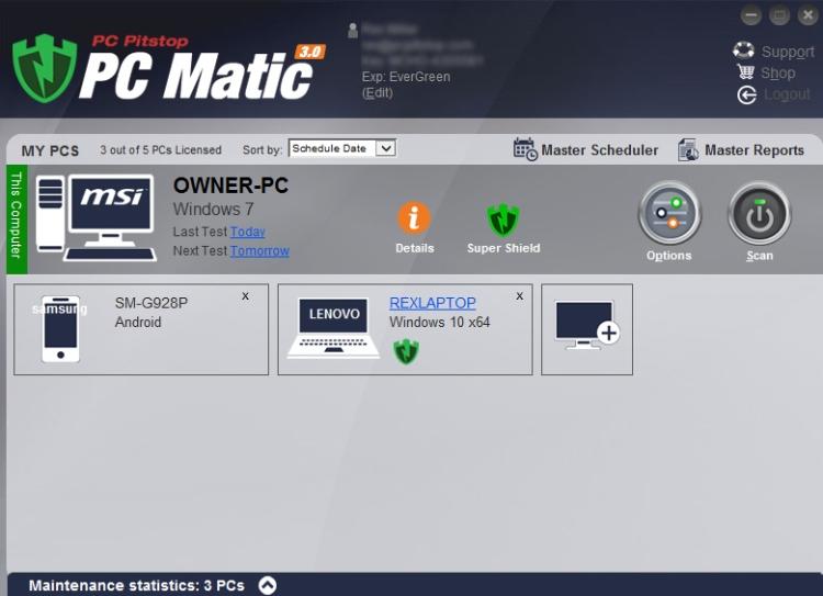 Tableau de bord de l'antivirus PCMatic.
