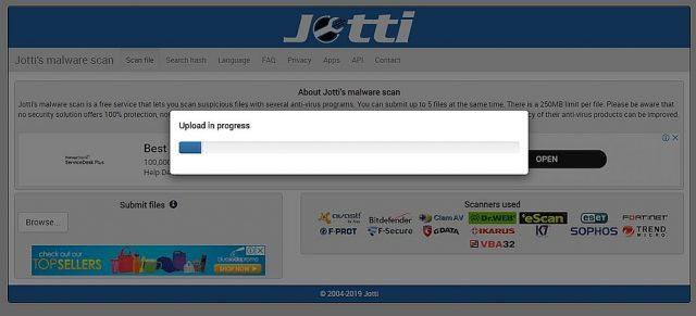 Le scanner en ligne de Jotti