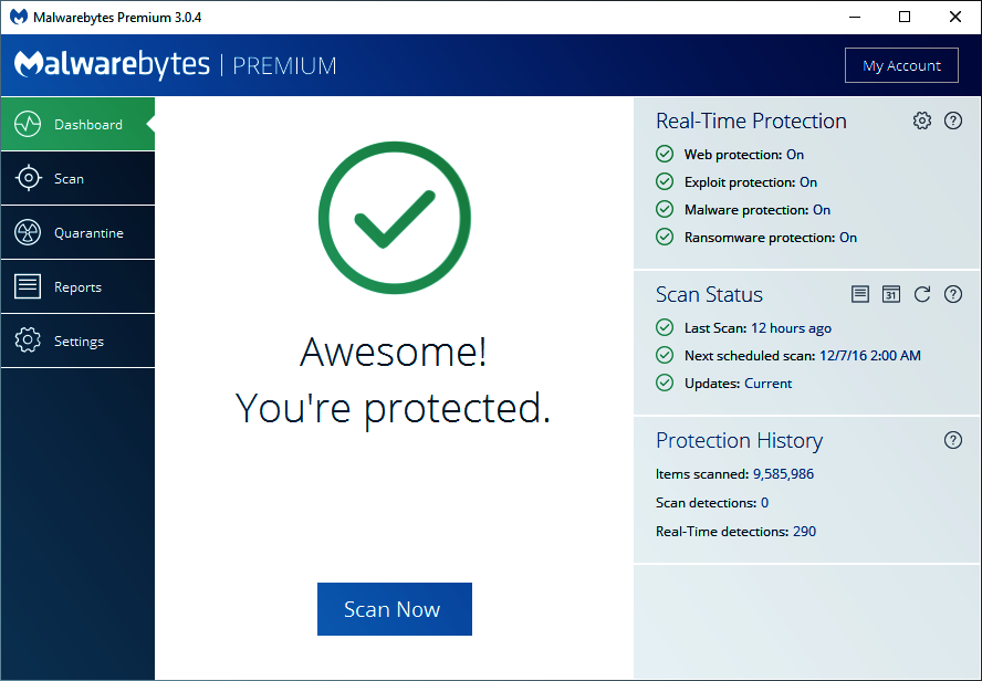 Malwarebytes Premium Tableau de bord.