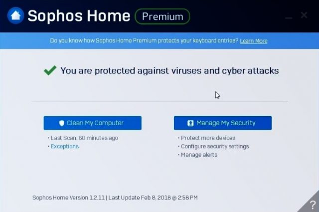 Interface Sophos Home Premim.