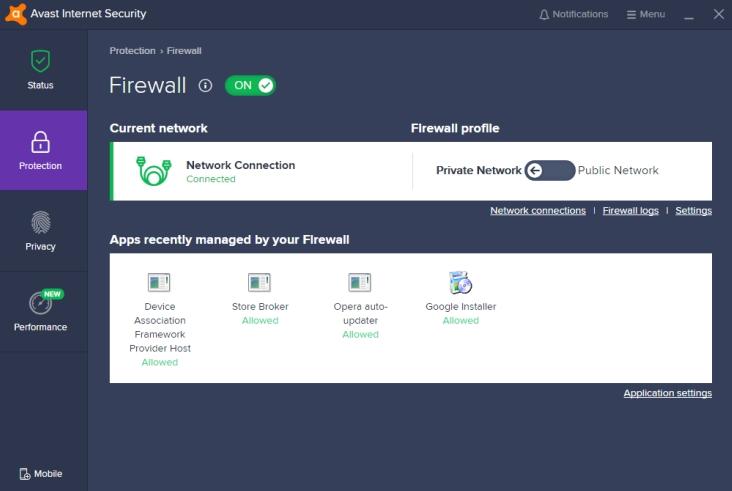 Paramétrage du pare-feu antivirus Avast.
