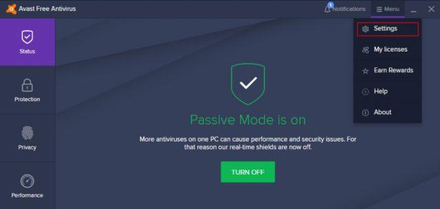 Comment supprimer la signature électronique d'Avast : Paramètres d'Avast