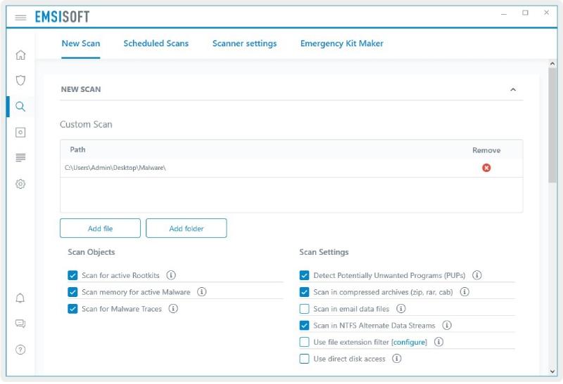 Kit d'urgence Emsisoft Comment scanner