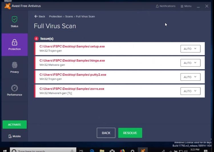 Avast Benutzerfreundlichkeit, Avast Full Virus Scan.