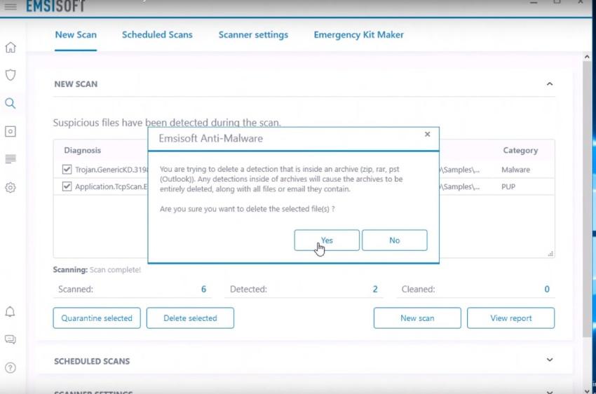Antivirus Emsisoft, facilité d'utilisation.