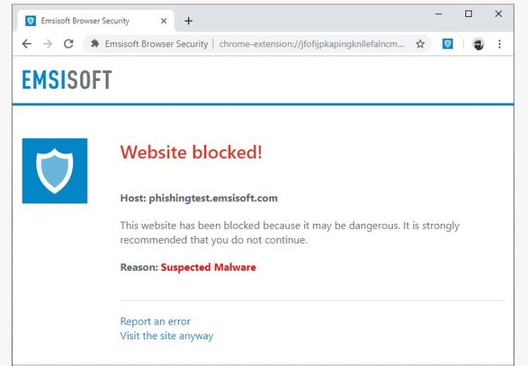 Emsisoft protection des URL.