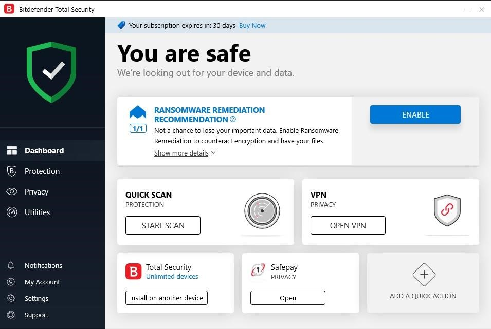 Antivirus Bitdefender, écran principal de Bitdefender, protection contre les logiciels malveillants.
