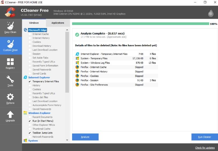 Nettoyage des fichiers de pacotille de CCleaner.