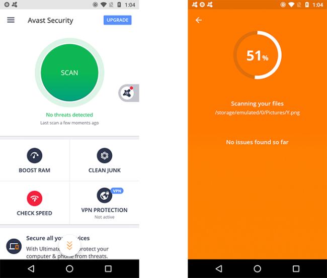 Interface de sécurité mobile Avast.