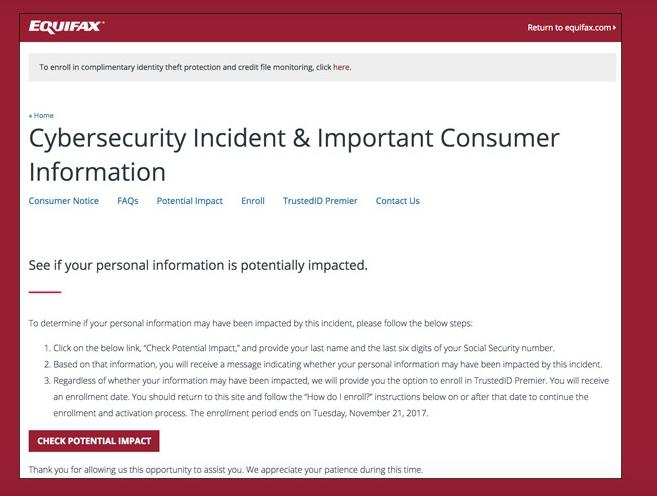 Alerte à la fraude à Equifax.